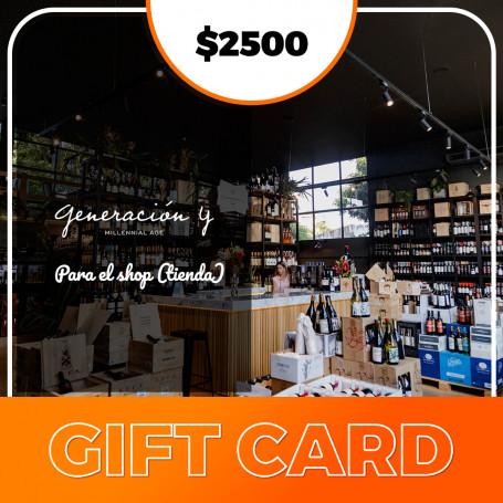 Gift card para el shop de Generación Y - $2500