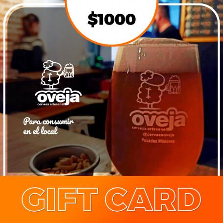 Gift card para Oveja Cerveza Artesanal - $1000