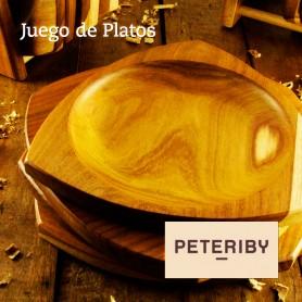 Juego de platos de madera