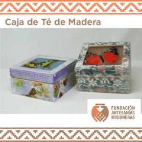 Caja de Té de madera con la tapa de vitorfusión Y decoupage