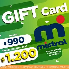 GIFT CARD MISTRAL- pagas $990 y compras por $1200