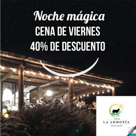 Voucher para cenar en Cabaña La Armonía - Viernes 22 de marzo con 40% de descuento