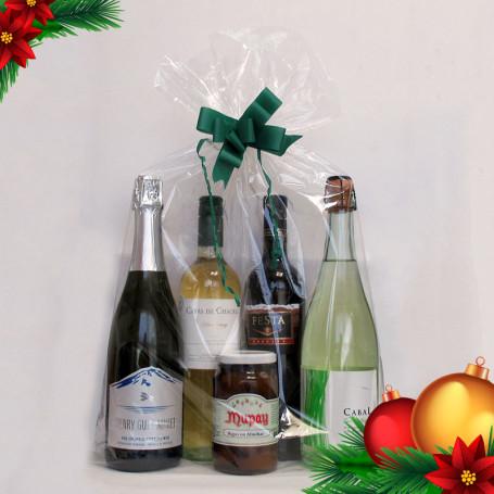 Regalos Empresariales Fin de Año - Combo 2: Dos Vinos+Dos Espumantes+Un Dulce