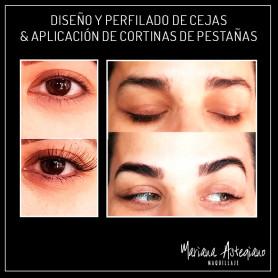 Diseño y perfilado de cejas con henna & aplicación de cortinas de pestañas
