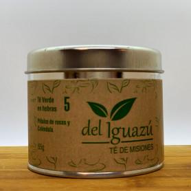 Té verde en hebras saborizado pétalos de rosa y caléndula - Del Iguazú Infusiones