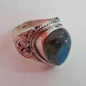 Anillo plata 925 piedra la cianita azul