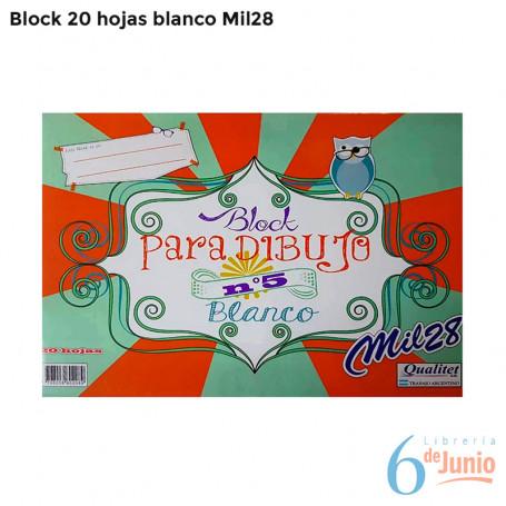 "Block blanco ""mil 28"" x 20 hojas"