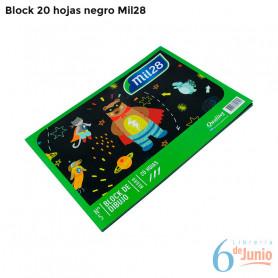 """Block negro """"mil 28"""" x 20 hojas"""