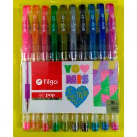 Bolígrafos Filgo Gel Pop Glitter x 10 unidades
