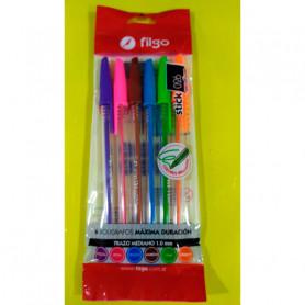 Bolígrafos Filgo Stick 026 Medium x 6 unidades