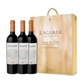 Vinos Lagarde por 3 - Estuche de Madera (Malbec+Cabernet Sauvignon+Merlot)