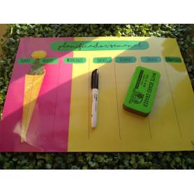Planificador imantado con borrador y marcador