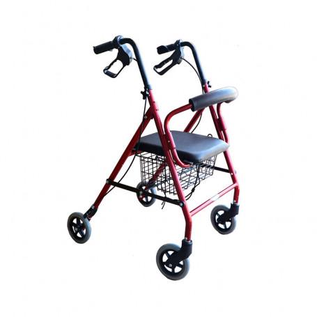 Andador 4 ruedas con canasto y asiento