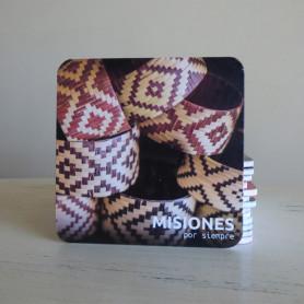 Posavaso imagen de cestería Mbya Guaraní- Misiones por Siempre