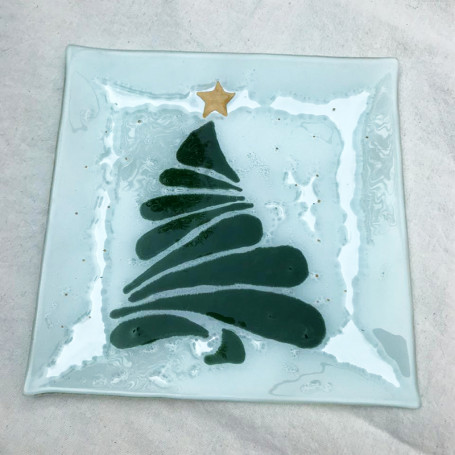 Plato navideño de vitrofusión - Diseño navideño